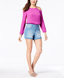 Thalia Sodi Cold-Shoulder Top & Denim Shorts, Created for Macy's