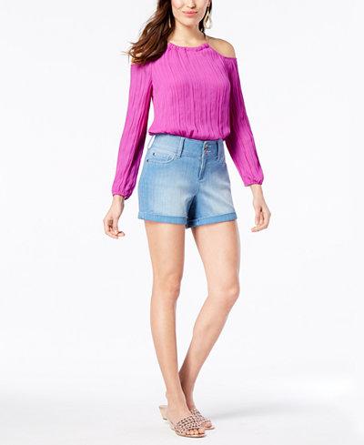 Thalia Sodi Cold-Shoulder Top & Denim Shorts, Created for Macy's