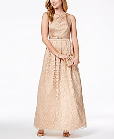 Jessica Howard Tonal-Print Belted Gown