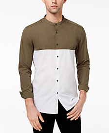 Kenneth Cole Reaction Men's Colorblocked Band-Collar Shirt