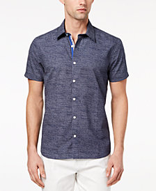 Ryan Seacrest Distinction™ Men's Slim-Fit Navy/White Broken-Stripe Sport Shirt, Created for Macy's