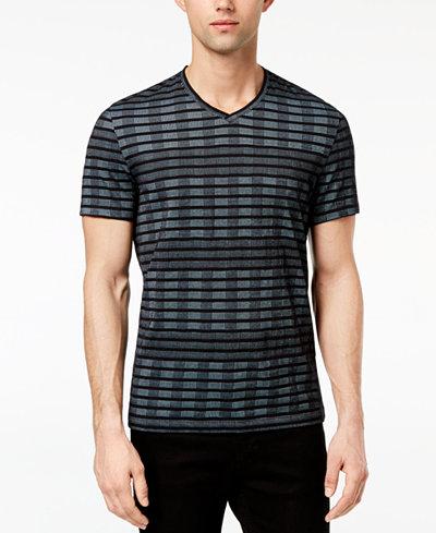 Alfani Men's Broken Multi-Stripe V-Neck T-Shirt, Created for Macy's