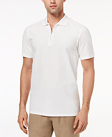Ryan Seacrest Distinction™ Men's Slim-Fit White Textured 1/4-Zip Polo, Created for Macy's