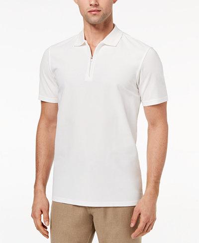Ryan Seacrest Distinction™ Men's Slim-Fit White Textured 1/4-Zip Polo, Created for Macy's
