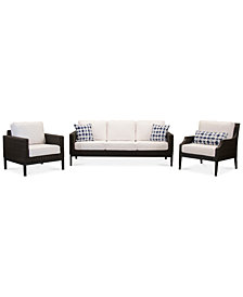 CLOSEOUT! Fiji Aluminum Outdoor 3-Pc. Seating Set (1 Sofa, 1 Club Chair & 1 Accent Club Chair) with Sunbrella® Cushions, Created for Macy's