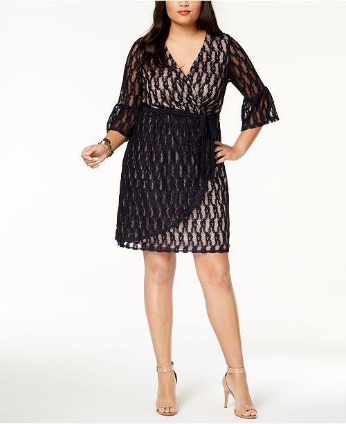 Love Squared Trendy Plus Size Lace Faux Wrap Dress Dresses Plus