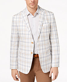 CLOSEOUT! Tallia Orange Men's Modern-Fit Gray/Cream Plaid Sport Coat