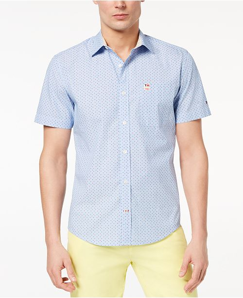 Tommy Hilfiger Men's Beatty Stripe Triangle-Print Shirt, Created for Macy's