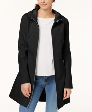 PETITE HOODED A-LINE SOFTSHELL RAINCOAT