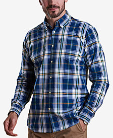 Barbour Men's Jeff Dark Blue Plaid Oxford Shirt
