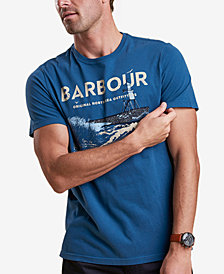 Barbour Men's Tetra Dark Blue Logo-Print T-Shirt