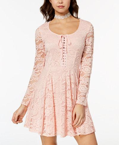 B Darlin Juniors' Lace Fit & Flare Dress