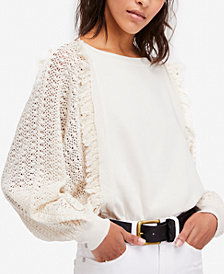 Free People Cotton Crochet-Sleeve Fringe Sweater