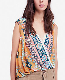 Free People Havana Printed Surplice Top