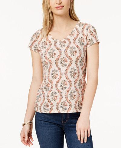 Style   Co Petite Cotton Floral-Print Top 28c5f3a11