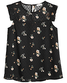 Monteau Floral-Print Swiss Dot Top, Big Girls