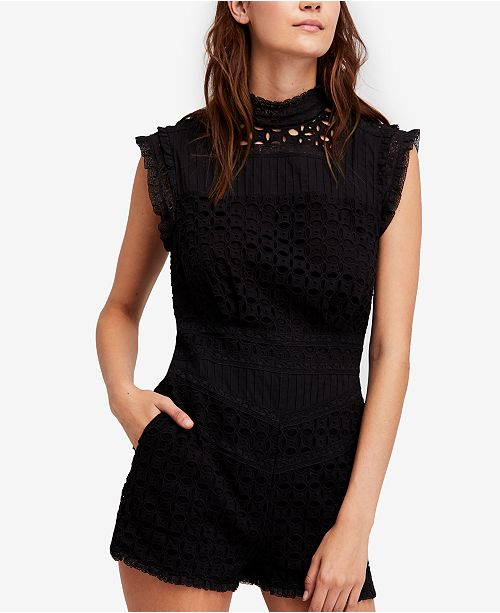 22c45135338 Free People Victoria Cotton Lace-Trim Romper   Reviews - Shorts ...