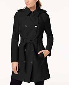 Calvin Klein Petite Double Breasted Belted Trench Coat, Created for Macy's