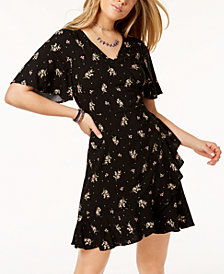 One Hart Juniors' Floral-Print Ruffle Wrap Dress, Created for Macy's