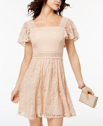 B Darlin Juniors' Lace Flutter-Sleeved Fit & Flare Dress
