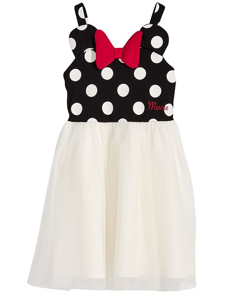 Disney Little Girls Minnie Mouse Polka Dot & Mesh Dress