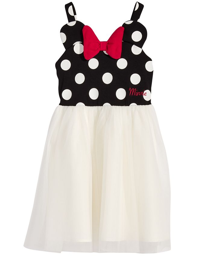 Disney - Minnie Mouse Polka Dot & Mesh Dress, Toddler & Little Girls (2T-6X)