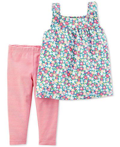 Carter's 2-Pc. Floral-Print Tunic & Striped Leggings Set, Toddler Girls
