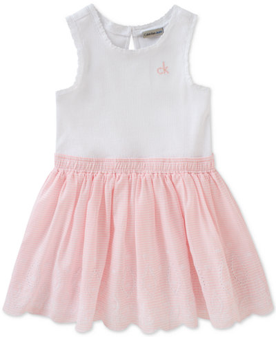 Calvin Klein Embroidered Cotton Dress, Toddler & Little Girls