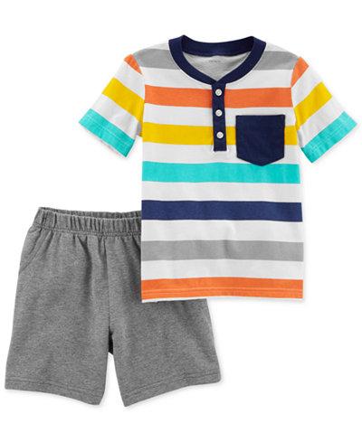Carter's 2-Pc. Striped Cotton T-Shirt & Shorts Set, Toddler Boys