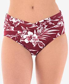 Miraclesuit Hibiskiss Printed Shirred-Waist Bikini Briefs