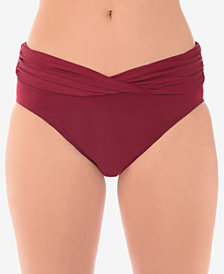 Miraclesuit Solid Shirred-Waist Bikini Bottoms