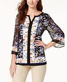 JM Collection Embellished Split-Neck Top, Created for Macy's