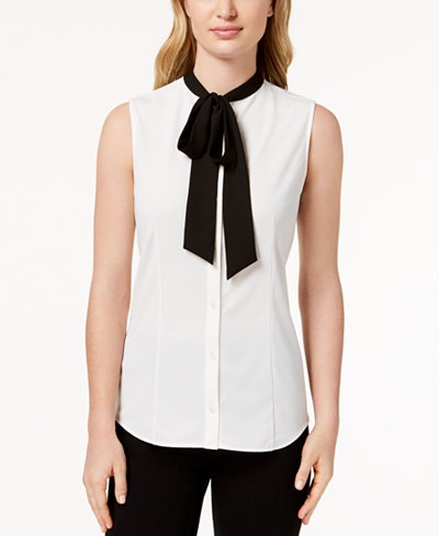 Anne Klein Sleeveless Bow Blouse