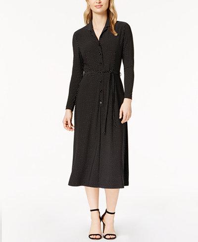 Anne Klein Polka-Dot Printed Shirtdress