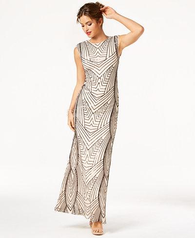 As U Wish Juniors' Sequin Cutout Gown