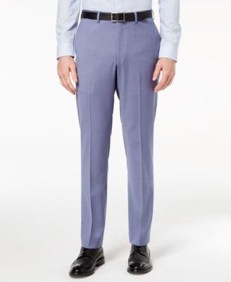 Men's Modern-Fit Stretch Blue Suit Pants
