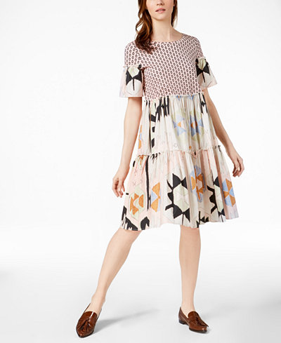 Weekend Max Mara Redy Cotton Mixed-Print Dress