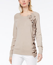 I.N.C. Metallic Ruffle Sweater, Created for Macy's