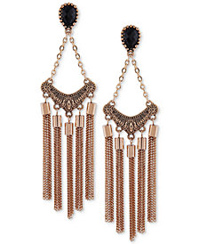 GUESS Gold-Tone Jet Stone Chain Tassel Chandelier Earrings