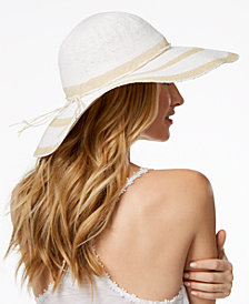 I.N.C. Woven-Stripe Floppy Hat, Created for Macy's
