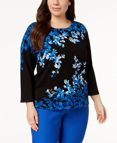 Alfred Dunner Plus Size Upper East Side Cotton Embellished Sweater