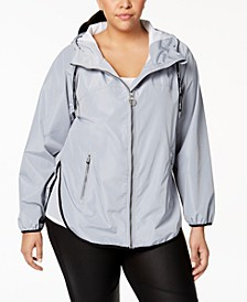 Plus Size Spectator Crossover-Back Hooded Rain Jacket
