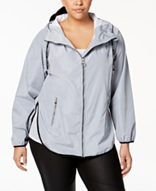 Calvin Klein Performance Plus Size Spectator Crossover-Back Hooded Rain Jacket