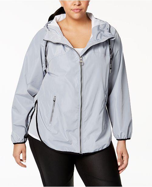 Calvin Klein Plus Size Spectator Crossover-Back Hooded Rain Jacket