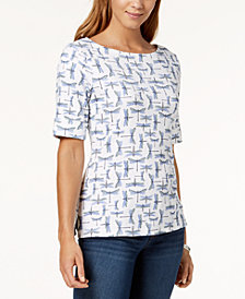 Karen Scott Petite Cotton Boatneck Dragonfly-Print Top, Created for Macy's