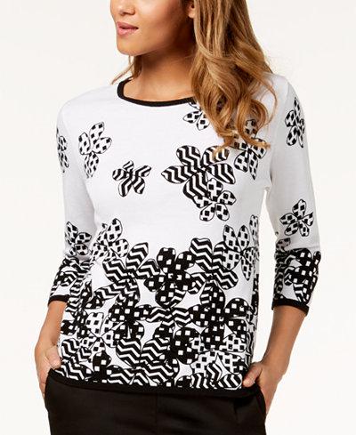 Alfred Dunner Upper East Side Embellished Cotton Sweater