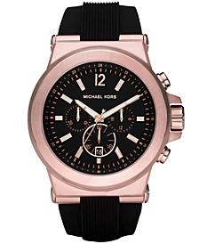 Men's Chronograph Dylan Black Silicone Strap Watch 48mm MK8184