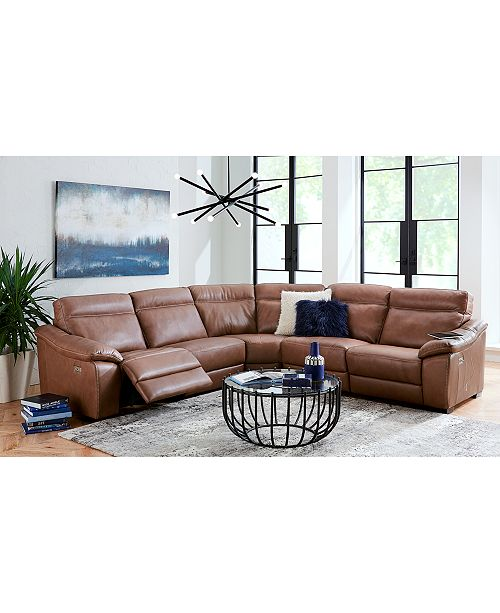 Furniture Gennaro Leather Reclining Sectional Sofa Collection With Headrest Created For Macy S