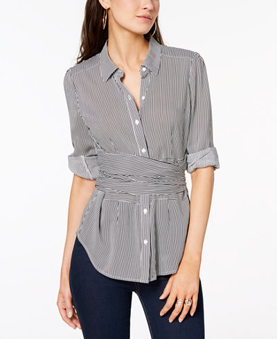 Bar III Faux-Wrap Blouse, Created for Macy's