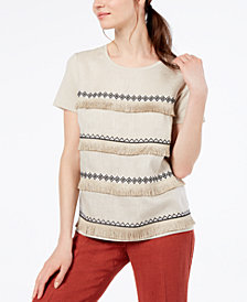 Weekend Max Mara Helier Linen Fringe-Trim Top